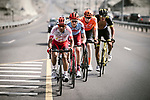 The breakaway group Darwin Atapuma (COL) Cofidis, Ian Boswell (USA) Katusha Alpecin, Nathan Van Hooydonck (BEL) CCC Team and Damian Gaudin (FRA) Direct Energie, in action during Stage 4 of 10th Tour of Oman 2019, running 131km from Yiti (Al Sifah) to Oman Convention and Exhibition Centre, Oman. 19th February 2019.<br /> Picture: ASO/P. Ballet | Cyclefile<br /> All photos usage must carry mandatory copyright credit (&copy; Cyclefile | ASO/P. Ballet)
