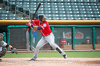 Franklin Gutierrez (21) of the Tacoma Rainiers at bat against the Salt Lake Bees in Pacific Coast League action at Smith's Ballpark on May 7, 2015 in Salt Lake City, Utah. The Bees defeated the Rainiers 11-4 in the completion of the game that was suspended due to weather on May 6, 2015. (Stephen Smith/Four Seam Images)