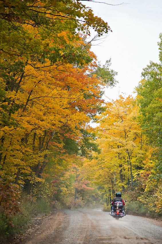 Fall color motorcycle ride along County Road 510 in Marquette County Michigan's Upper Peninsula.