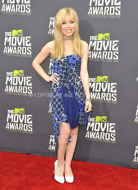 WWW.ACEPIXS.COM....April 14, 2013, Los Angeles, Ca.......Jennette McCurdy arriving at the 2013 MTV Movie Awards at Sony Pictures Studios on April 14, 2013 in Culver City, California.......By Line: Peter West/ACE Pictures....ACE Pictures, Inc..Tel: 646 769 0430..Email: info@acepixs.com