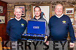Pictured at the presentation of The Kerry Garda Golf Society Presidents Day Prize in Waterville on Monday were l-r; Declan Kelly(Captain), Pa Finnegan(14) with a winning score of 41 points & Jim Browne President, the day was sponsored by Jim McGrath from the Oyster Tavern, Tralee.