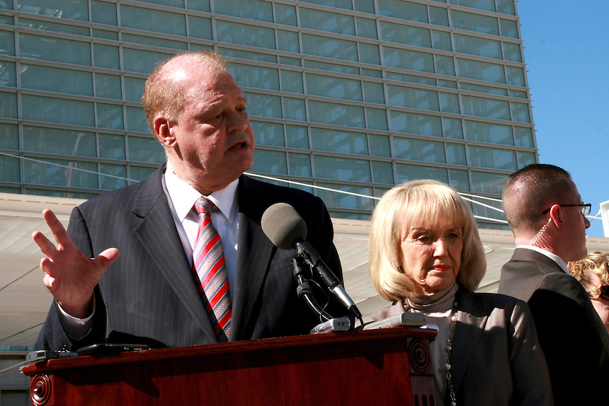 Governor Jan Brewer(cq) and Attorney General Tom Horne(cq) File a countersue on Arizona Immigration law against the Federal Goverment at the Federal Court In Phoenix. On Thursday Feb 10, 2011..Photo by AJ Alexander