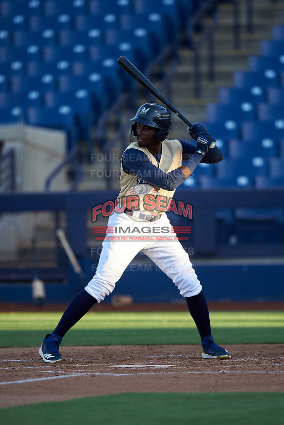 AZL Brewers Gold Larry Ernesto (7) at bat during an Arizona League game against the AZL Brewers Blue on July 13, 2019 at American Family Fields of Phoenix in Phoenix, Arizona. The AZL Brewers Blue defeated the AZL Brewers Gold 6-0. (Zachary Lucy/Four Seam Images)