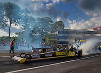 May 30, 2014; Englishtown, NJ, USA; NHRA top fuel driver Richie Crampton during qualifying for the Summernationals at Raceway Park. Mandatory Credit: Mark J. Rebilas-