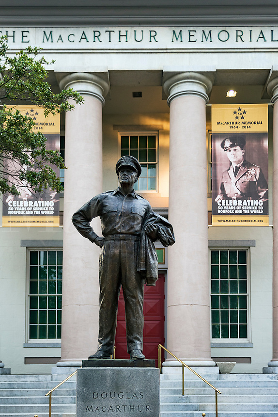 The MacArthur Memorial museum and statue, Norfolk, Virginia, USA