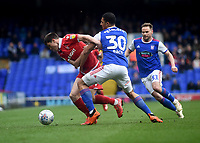 Nottingham Forest's Joe Lolley battles with  Ipswich Town's Myles Kenlock<br /> <br /> Photographer Hannah Fountain/CameraSport<br /> <br /> The EFL Sky Bet Championship - Ipswich Town v Nottingham Forest - Saturday 16th March 2019 - Portman Road - Ipswich<br /> <br /> World Copyright &copy; 2019 CameraSport. All rights reserved. 43 Linden Ave. Countesthorpe. Leicester. England. LE8 5PG - Tel: +44 (0) 116 277 4147 - admin@camerasport.com - www.camerasport.com