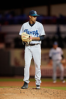 Tampa Tarpons relief pitcher Adonis Rosa (4) gets ready to deliver a pitch during a game against the Lakeland Flying Tigers on April 5, 2018 at Publix Field at Joker Marchant Stadium in Lakeland, Florida.  Tampa defeated Lakeland 4-2.  (Mike Janes/Four Seam Images)