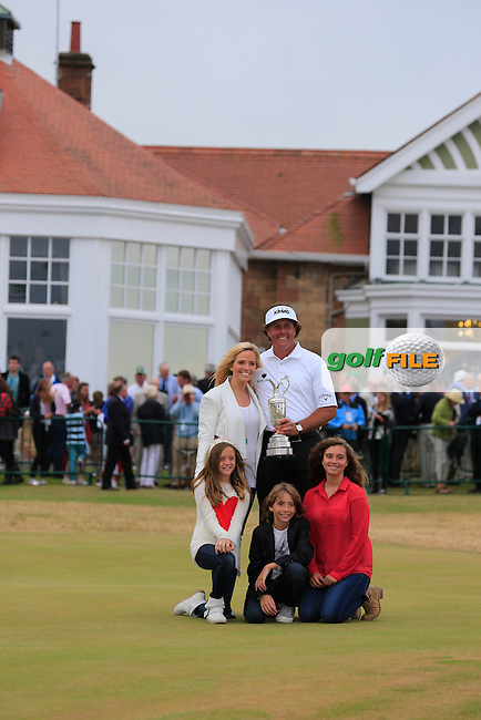 Phil MICKELSON (USA) seen here with his wife Amy is the champion golfer at the 142th Open Championship Muirfield, Gullane, East Lothian, Scotland 21/7/2013<br /> Picture Fran Caffrey www.golffile.ie: