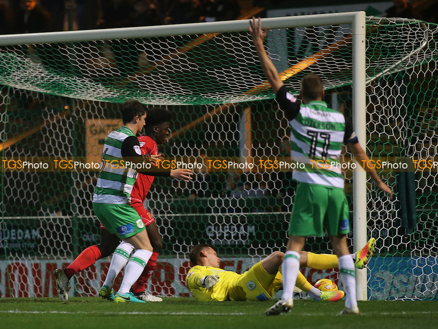 MK Dons nearly score a second goal during Yeovil Town vs MK Dons, Checkatrade Trophy Football at Huish Park on 6th December 2016