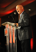 NWA Democrat-Gazette/ANDY SHUPE<br /> Chuck Barrett, voice of the Razorbacks, speaks Friday, Aug. 18, 2017, during the Kickoff Luncheon at the Northwest Arkansas Convention Center in Springdale. Visit nwadg.com/photos to see more photographs from the luncheon.
