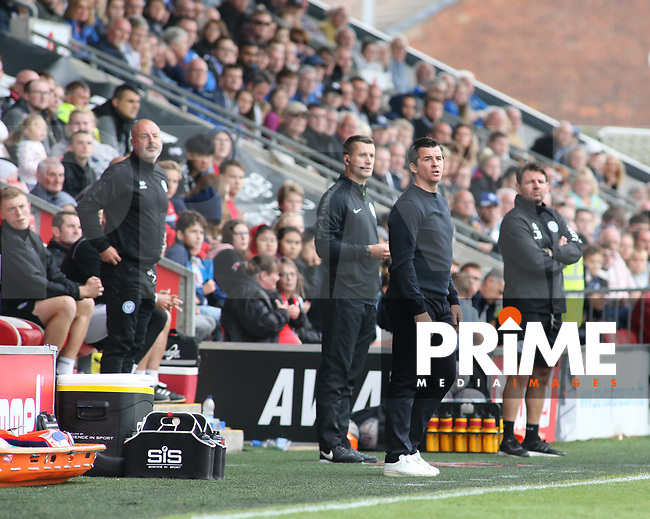 Joey Barton (Manager) of Fleetwood Town during the Sky Bet League 1 match between Fleetwood Town and Rochdale at Highbury Stadium, Fleetwood, England on 18 August 2018. Photo by Stephen Gaunt / PRiME Media Images.