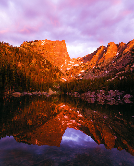 Sunrise reflection of Hallett Peak in Dream Lake, Rocky Mountain National Park, Colorado, USA