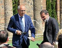 Giovanni Nistri direttore grande progetto pompei e massimo Osanna soprintendente di Pompei negli scavi archeologici di Pompei per presentare Expo 2015,  18 Aprile 2015
