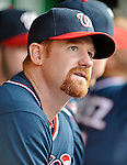 16 May 2012: Washington Nationals infielder Chad Tracy sits in the dugout prior to a game against the Pittsburgh Pirates at Nationals Park in Washington, DC. The Nationals defeated the Pirates 7-4 in the first game of their 2-game series. Mandatory Credit: Ed Wolfstein Photo