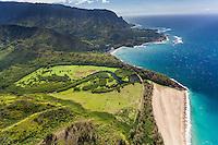 Aerial view of north shore, Kauai