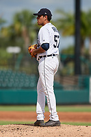 Detroit Tigers pitcher Gio Arriera (57) gets ready to deliver a pitch during a Florida Instructional League game against the Pittsburgh Pirates on October 6, 2018 at Joker Marchant Stadium in Lakeland, Florida.  (Mike Janes/Four Seam Images)