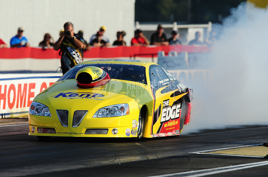 Sept. 2, 2011; Claremont, IN, USA: NHRA pro stock driver Rodger Brogdon during qualifying for the US Nationals at Lucas Oil Raceway. Mandatory Credit: Mark J. Rebilas-