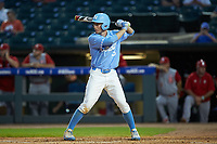 Brian Miller (5) of the North Carolina Tar Heels at bat against the North Carolina State Wolfpack in Game Twelve of the 2017 ACC Baseball Championship at Louisville Slugger Field on May 26, 2017 in Louisville, Kentucky. The Tar Heels defeated the Wolfpack 12-4. (Brian Westerholt/Four Seam Images)