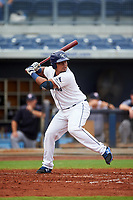 Charlotte Stone Crabs catcher David Rodriguez (10) at bat during the first game of a doubleheader against the Tampa Yankees on July 18, 2017 at Charlotte Sports Park in Port Charlotte, Florida.  Charlotte defeated Tampa 7-0 in a game that was originally started on June 29th but called to inclement weather.  (Mike Janes/Four Seam Images)