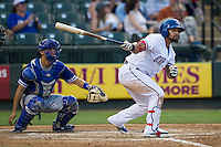 Round Rock Express designated hitter Rougned Odor (9) follows through on his swing during the Pacific Coast League baseball game against the Oklahoma City Dodgers on June 9, 2015 at the Dell Diamond in Round Rock, Texas. The Dodgers defeated the Express 6-3. (Andrew Woolley/Four Seam Images)