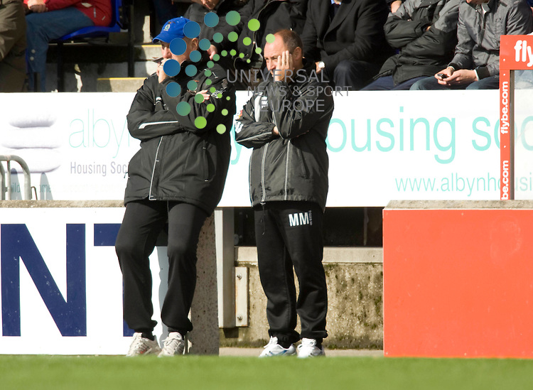 FOOTBALL.Irn Bru league Div 1.Inverness CT v Ross County.Inverness management duo Terry Butcher and Maurice Malpas contemplate their sides defeat. Picture:Gordon Gillespie/Universal News And Sport (Scotland) 29 August 2009.