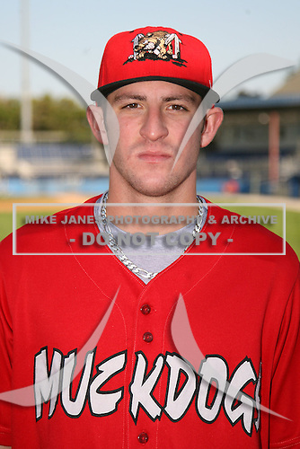 September 5, 2009:  Outfielder Travis Mitchell of the Batavia Muckdogs before a game at Dwyer Stadium in Batavia, NY.  The Muckdogs are the Short-Season Class-A affiliate of the St. Louis Cardinals.  Photo By Mike Janes/Four Seam Images