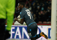 Duvan Zapata  celebrates after scoring during the Italian Serie A soccer match between   SSC Napoli and Atalanta  at San Paolo  Stadium in Naples ,March 22 , 2015<br /> <br /> <br /> incontro di calcio di Serie A   Napoli -Atalanta allo  Stadio San Paolo  di Napoli , 22  Marzo 2015