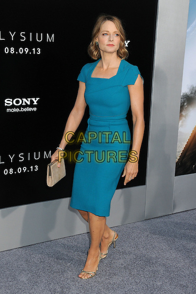 Jodie Foster<br /> &quot;Elysium&quot; Los Angeles Premiere held at the Regency Village Theatre, Westwood, California, USA.<br /> August 7th, 2013<br /> full length dress blue turquoise teal beige clutch bag <br /> CAP/ADM/BP<br /> &copy;Byron Purvis/AdMedia/Capital Pictures
