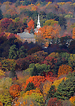 Bright colors surround the Phillips Stevens Chapel at the Williston Northampton School in Easthampton as fall foliage peaks in Western Massachusetts on Tuesday, October 26, 2010. The view is from Mt. Tom State Reservation.