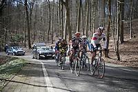 the escape group led by Reto Hollenstein (SUI/IAM) up the La Houppe climb<br /> <br /> E3 - Harelbeke 2016