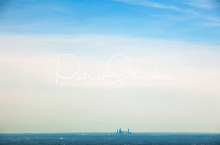 Aerial photography over Charlotte, NC, and the surrounding areas from May 2009. Photos by Charlotte photographer Patrick Schneider Photography. Photo of the Charlotte skyline from a distance.