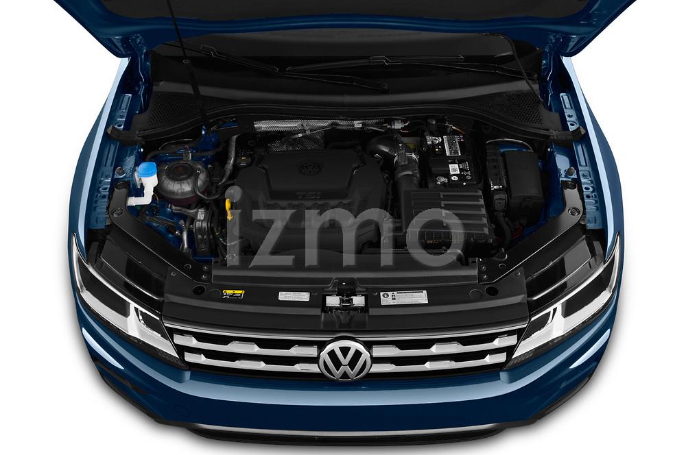 Car stock 2019 Volkswagen Tiguan SE  5 Door SUV engine high angle detail view