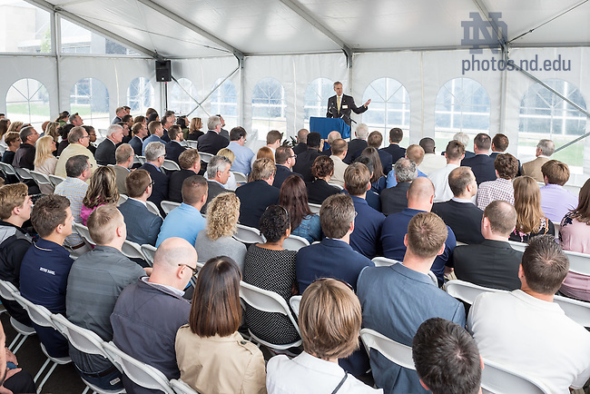 June 7, 2016; Executive Vice President John Affleck-Graves speaks at the Notre Dame Turbomachinery Laboratory ribbon cutting ceremony. (Photo by Matt Cashore/University of Notre Dame)