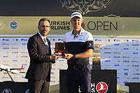 Justin Rose (ENG), pictured with Dr.Mehmet Muharrem Kasapoglu Minister of Youth and Sports, wins the playoff hole and the tournament and also moves back to No.1 in the world at the end of Sunday's Final Round of the 2018 Turkish Airlines Open hosted by Regnum Carya Golf &amp; Spa Resort, Antalya, Turkey. 4th November 2018.<br /> Picture: Eoin Clarke | Golffile<br /> <br /> <br /> All photos usage must carry mandatory copyright credit (&copy; Golffile | Eoin Clarke)