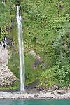 Cocos Island, Costa Rica; waterfalls cascading off Cocos Island in the rainy season