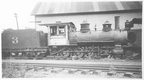 RGS 2-8-0 #3 parked in Durango.<br /> RGS  Durango, CO  Taken by Rogers, Donald E. A. - 1930-1939