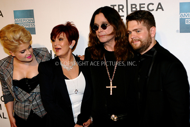 WWW.ACEPIXS.COM . . . . .  ....April 24 2011, New York City....(L-R) Kelly Osborne, Sharon Osborne, Ozzy Osborne and Jack Osborne arriving at the premiere of 'God Bless Ozzy Osbourne' during the 2011 Tribeca Film Festival at BMCC Tribeca PAC on April 24, 2011 in New York City.....Please byline: NANCY RIVERA- ACEPIXS.COM.... *** ***..Ace Pictures, Inc:  ..Tel: 646 769 0430..e-mail: info@acepixs.com..web: http://www.acepixs.com