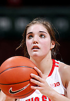 Ohio State Buckeyes guard Cait Craft (13) shoots free throws after being fouled by Appalachian State Mountaineers guard Katie Mallow (20) while attempting a layup during the second half of the NCAA women's basketball game between the Ohio State Buckeyes and the Appalachian State Mountaineers at Value City Arena in Columbus, Ohio, on Friday, Dec. 20, 2013. The Buckeyes overcame a 21-18 deficit at the half to defeat the Mountaineers 52-38.  (Columbus Dispatch/Sam Greene