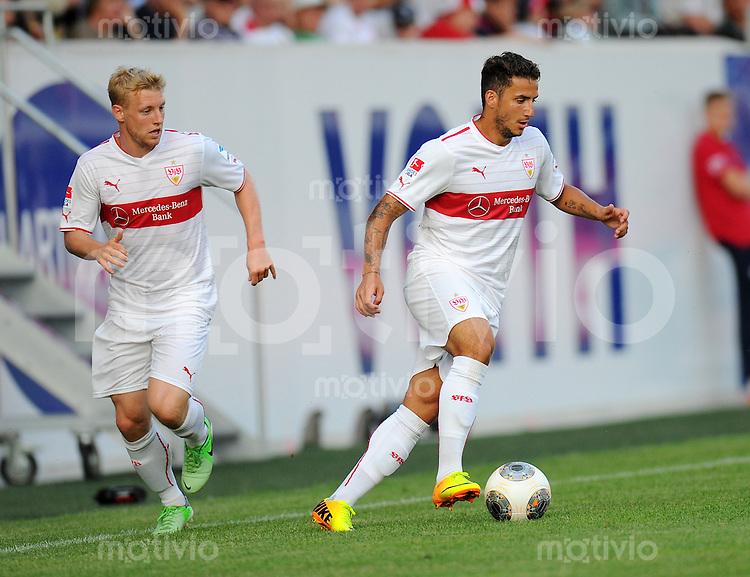 FUSSBALL  1. Bundesliga   2013/2014   Testspiel  FC Heidenheim - VfB Stuttgart   13.07.2013 Sercan Sararer (re, VfB Stuttgart) am Ball und  Patrick Funk (VfB Stuttgart)