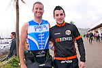 Aidan O'Connor (Ennis) with Shane Finn (Dingle) at the start of the Dingle Triathlon on Saturday morning.