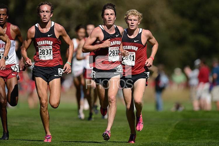 STANFORD, CA - SEPTEMBER 25: Chris Derrick (left), Elliott Heath (middle), and Jacob Riley (right) of the Stanford cross country team run the 8K Stanford Invitational at the Stanford Golf Course in Stanford, California on September 25, 2010.  Stanford swept, the men and women each taking first place.