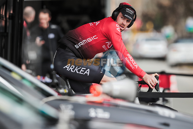Daniel McLay (GBR) Team Arkea-Samsic warms up before the start of Stage 4 of the 78th edition of Paris-Nice 2020, and individual time trial running 15.1km around Saint-Amand-Montrond, France. 11th March 2020.<br /> Picture: ASO/Fabien Boukla | Cyclefile<br /> All photos usage must carry mandatory copyright credit (© Cyclefile | ASO/Fabien Boukla)