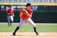 May 13, 2009:  Second Baseman Shelby Ford of the Indianapolis Indians, International League Class-AAA affiliate of the Pittsburgh Pirates, turns a double play during a game at Frontier Field in Rochester, FL.  Photo by:  Mike Janes/Four Seam Images