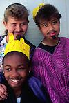 Teenage girls dressed for school performance, Cayman Brac, Cayman Islands,