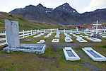 The graveyard where Ernest Shackleton is buried in Grytviken, South Georgia, Great Britain, UK