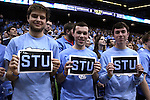 "05 January 2015: UNC students honor the late ESPN broadcaster and UNC alumnus Stuart Scott with ""STU"" signs. The University of North Carolina Tar Heels played the University of Notre Dame Fighting Irish in an NCAA Division I Men's basketball game at the Dean E. Smith Center in Chapel Hill, North Carolina."