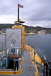 Open hatch and deck of tourist submarine in Avalon Harbor, Catalina Island, California