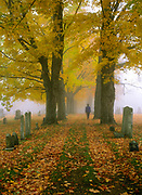 Greenlawn Cemetery during the autumn months in Mount Vernon, New Hampshire USA.