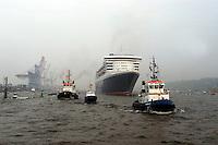 Deutschland, Hamburg,  Queen Mary 2, Kreuzfahrtschiff, Elbe, Schlepper, Einlaufendes Kreuzfahrtschiff