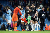 Manchester City's Ederson gives his shirt to a young fan who ran onto the pitch at the final whistle<br /> <br /> Photographer Rich Linley/CameraSport<br /> <br /> Emirates FA Cup Fourth Round - Manchester City v Burnley - Saturday 26th January 2019 - The Etihad - Manchester<br />  <br /> World Copyright © 2019 CameraSport. All rights reserved. 43 Linden Ave. Countesthorpe. Leicester. England. LE8 5PG - Tel: +44 (0) 116 277 4147 - admin@camerasport.com - www.camerasport.com